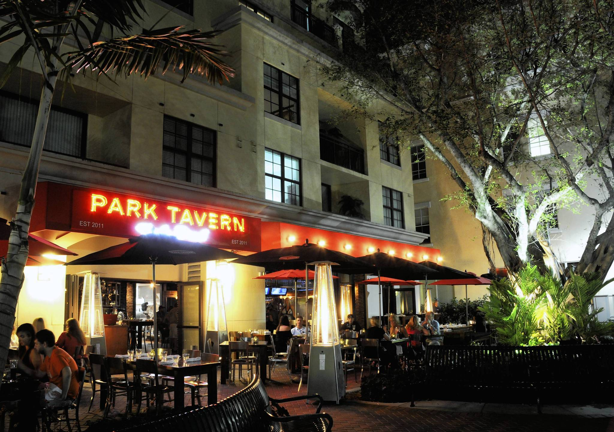 Despite its Second Avenue address, Park Tavern faces Atlantic Avenue in Delray Beach.