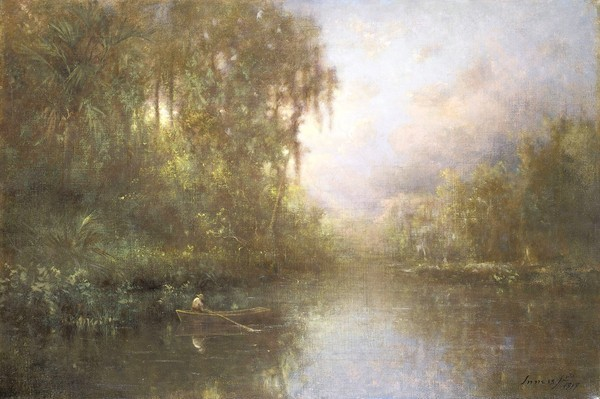 George Innness, Jr., Fishing Near Tarpon Springs, 1917, oil on canvas, 16 1/4 in. x 24 1/8 in., from the collection of Cici and J. Hyatt Brown.