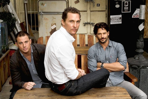 "Channing Tatum, left, Matthew McConaughey and Joe Manganiello of ""Magic Mike"" at the Cinema bar in Culver City."