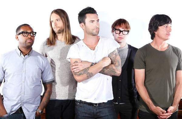 Maroon 5 band members: PJ Morton, left, James Valentine, Adam Levine, Mickey Madden and Matt Flynn.