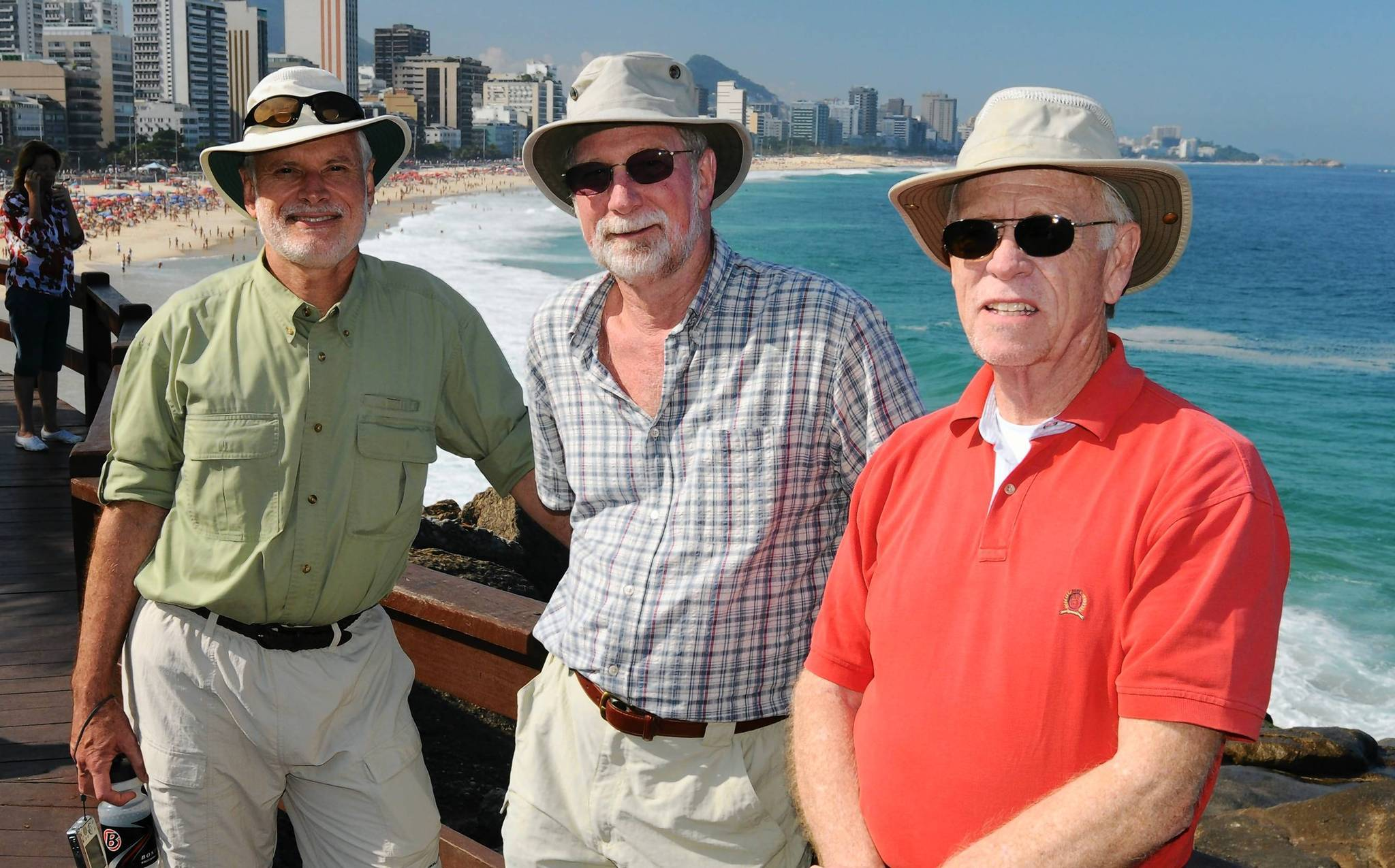 From left, Dr. Kurt Wagner, Dr. Jim Flach and William Kennedy relaxing in Rio de Janeiro, Brazil, after taking part in a medical and dental mission in Brazil.