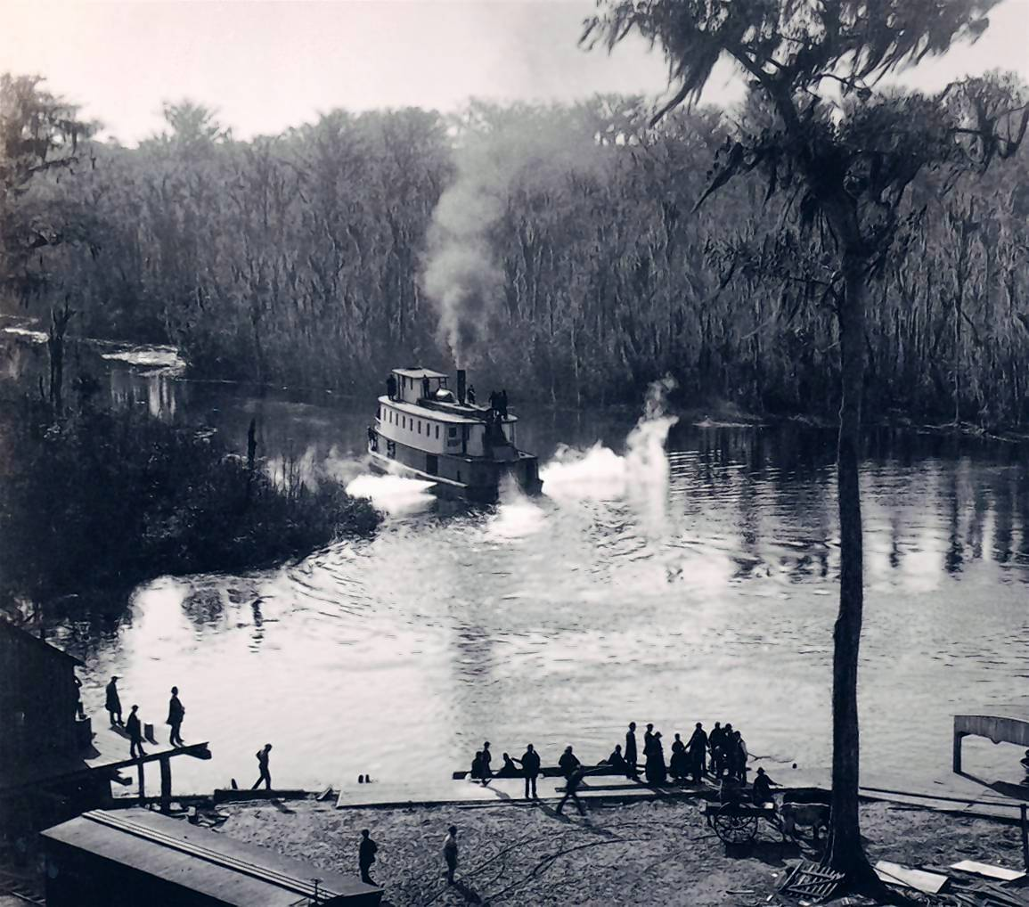 A steamboat approaches the dock at Silver Springs in June 1886. Visitors have long journeyed by boat, train and automobile to see this wonder in Marion County. Now, experts say the artesian spring is in trouble, its flow diminished.