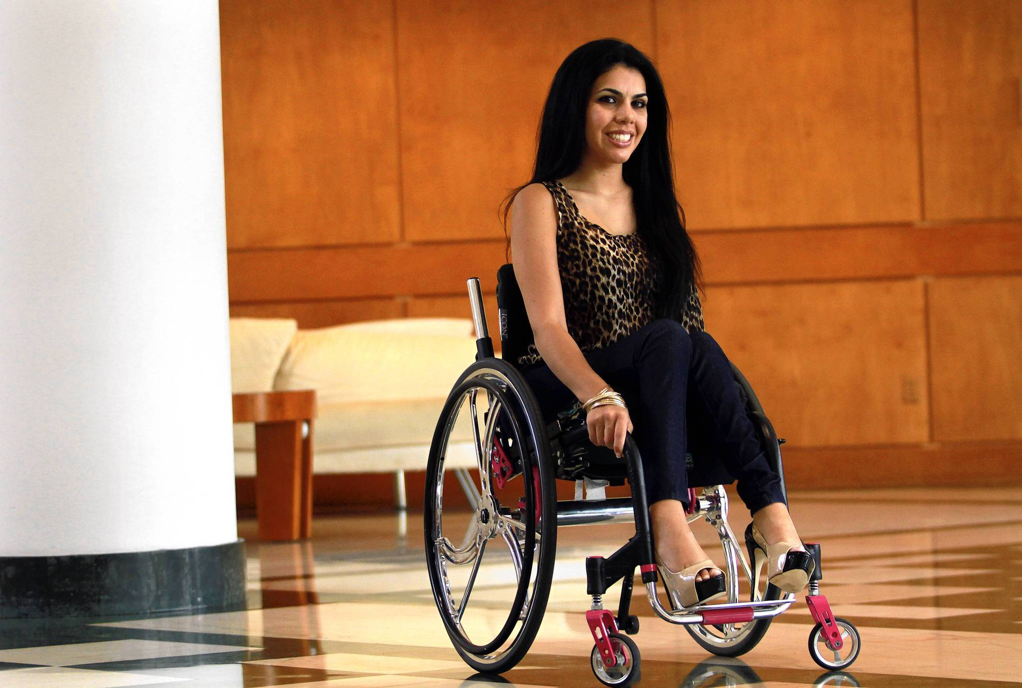 Alexandra Santibanez is a spokesmodel for wheelchair manufacturer, Colours, and has modeled for local designers.