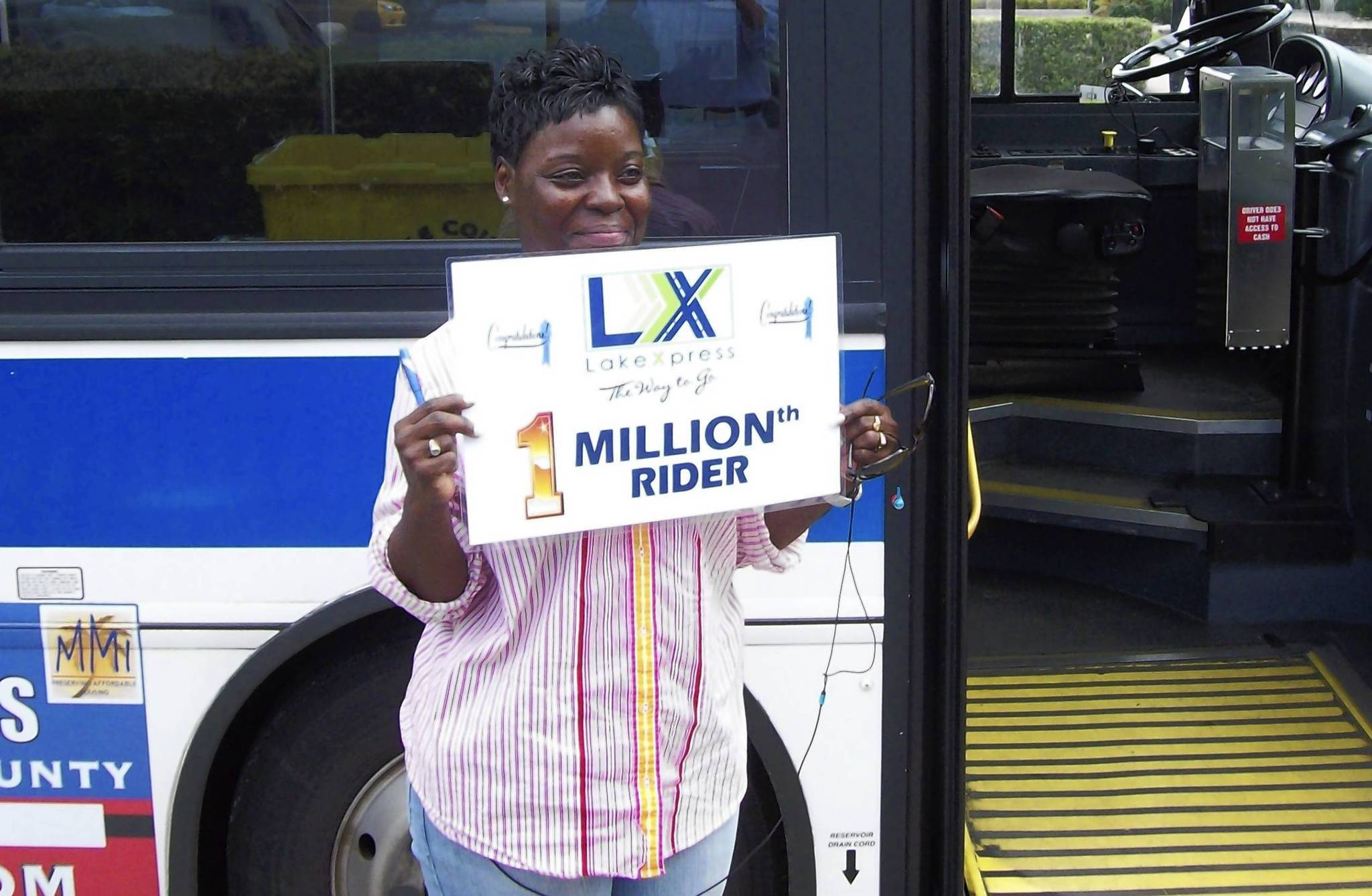 Leesburg resident Debbie Turner will receive free rides aboard LakeXpress for a year for being the transit services 1 millionth rider.