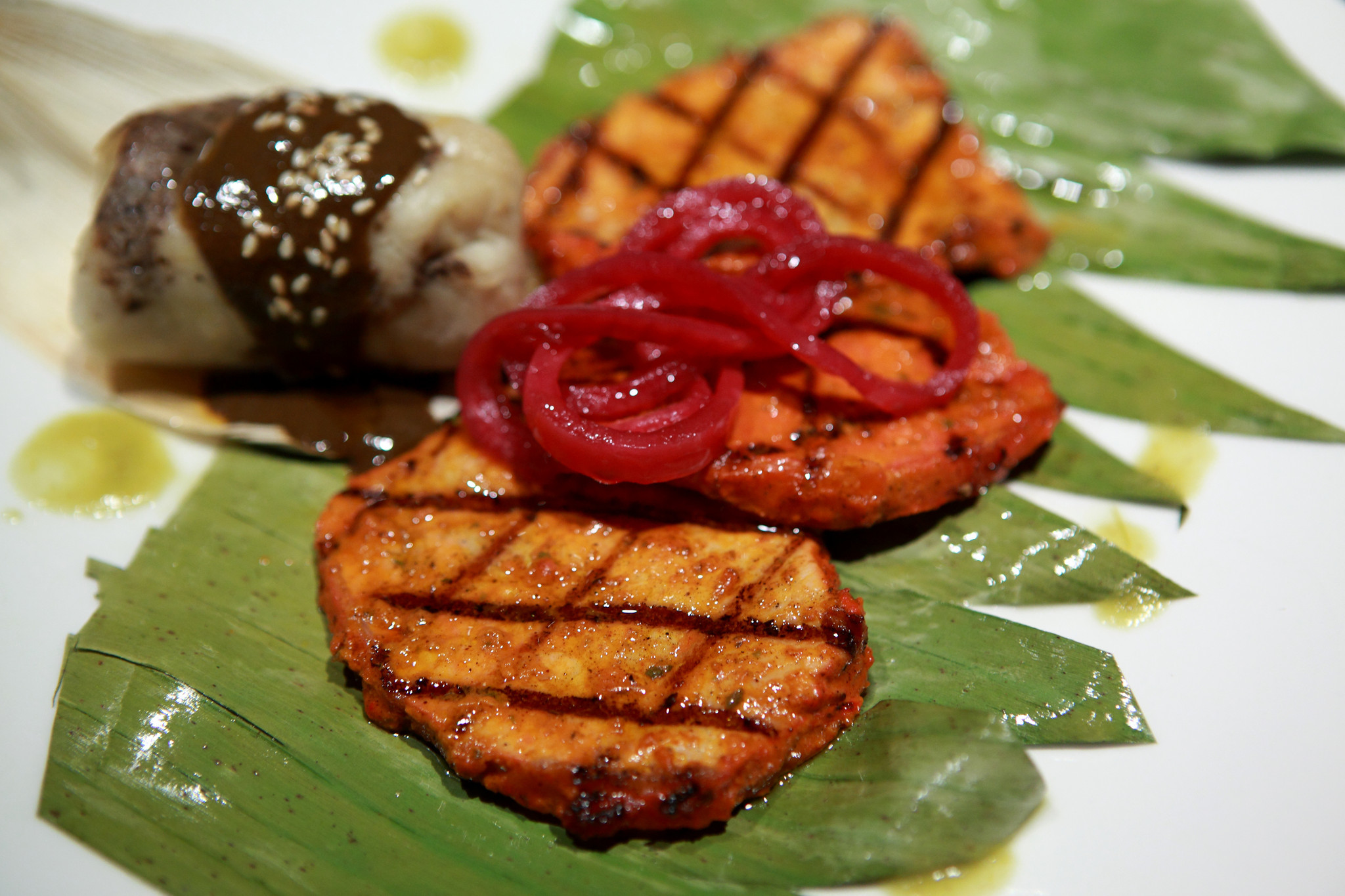 An Achiote Marinated Grilled Pork dish is shown at the restaurant Eduardo De San Angel, in Fort Lauderdale.