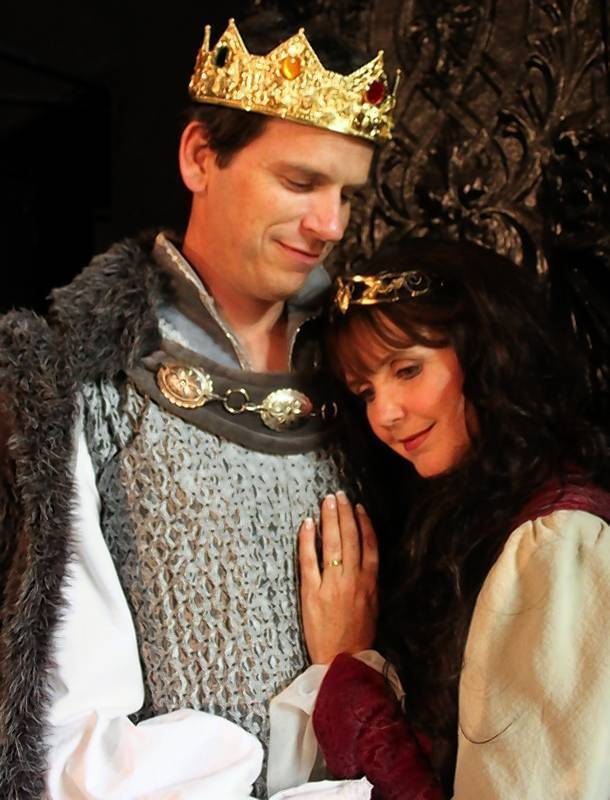 "Ben Adams as King Arthur and Stephanie Adams as Queen Guenevere in the Bay Street Players' production of ""Camelot."""