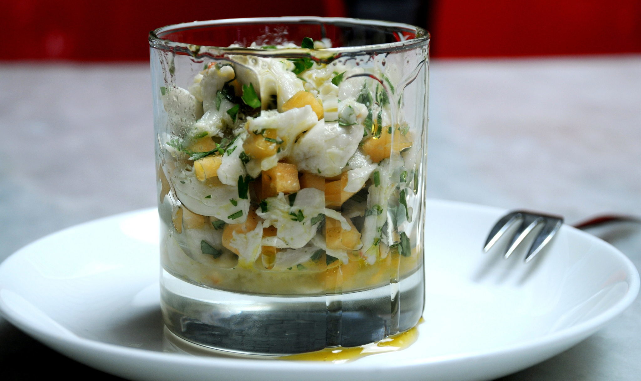 Crab and Melun Limun, honey, chile and cilantro