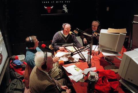 "Clockwise from foreground: Bill Gleason, Rick Telander, Bill Jauss and Lester Munson during a break in their radio show ""The Sportswriters."""