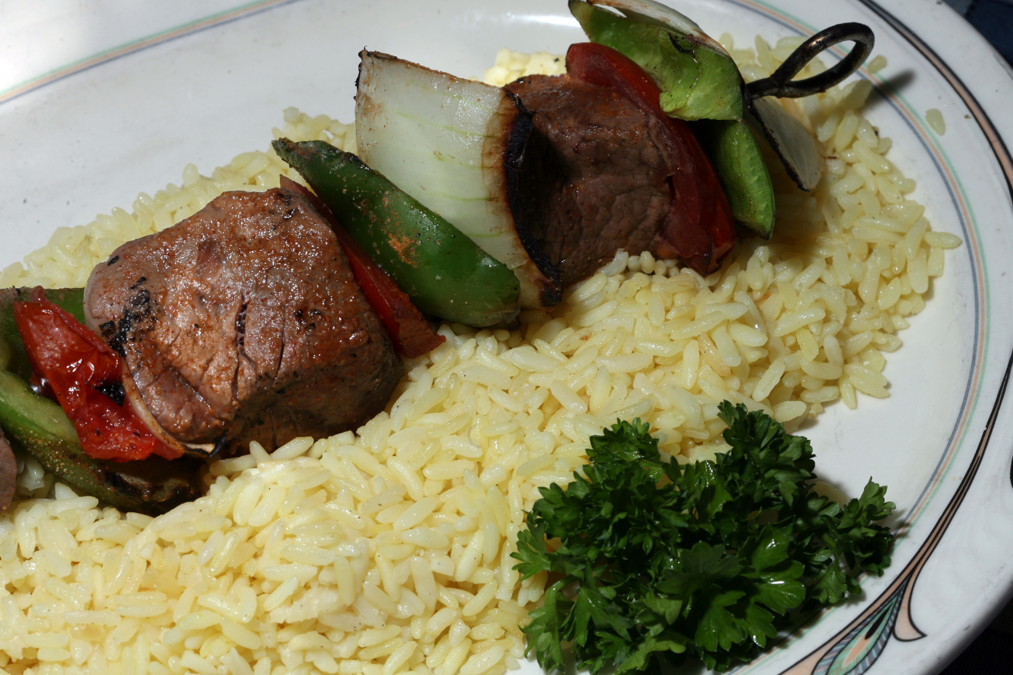 Rice with Beef Shish Kabobs