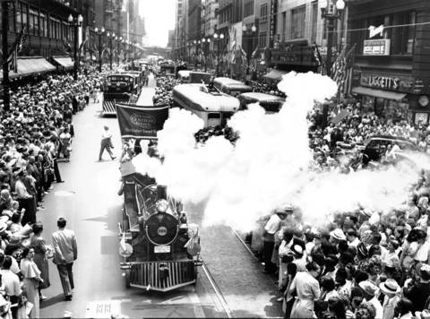 Parade on State Steet for the Chicago Railroad Fair, July 19, 1947.