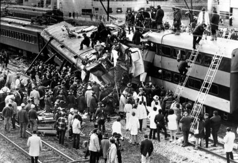 Rescue operations being conducted after the Illinois Central Trains crashed at 27th Street in Chicago, October 30, 1972.