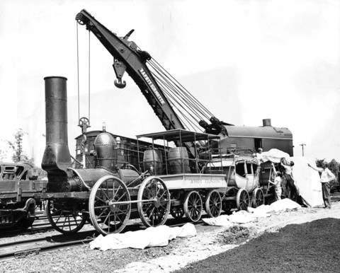 Replica of the DeWitt Clinton, which made its first run in New York 117 years ago, is being prepared for exhibition in the Chicago Railroad Fair in 1948.