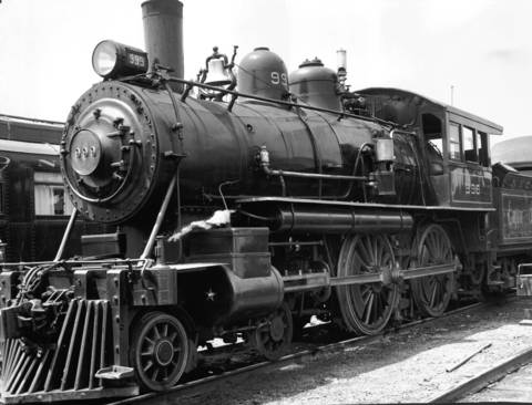 "The old 999 ""Empire State Express,"" the record holding steam locomotive of the New York Central Railroad, June 18, 1949. The whistle of this famed engine has been turned over to Col. RR McCormick, publisher of the Chicago Tribune."