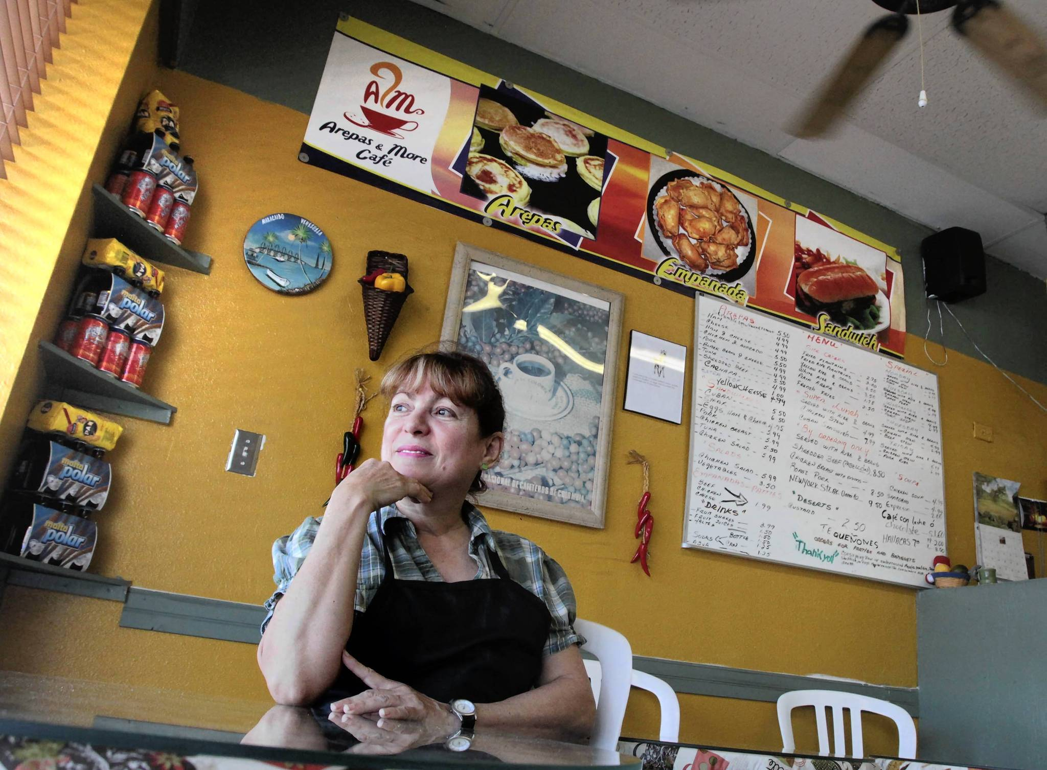 Blanca Mata, who came to the U.S. from Venezuela 25 years ago, owns Arepas & More Cafe on Bumby Avenue.