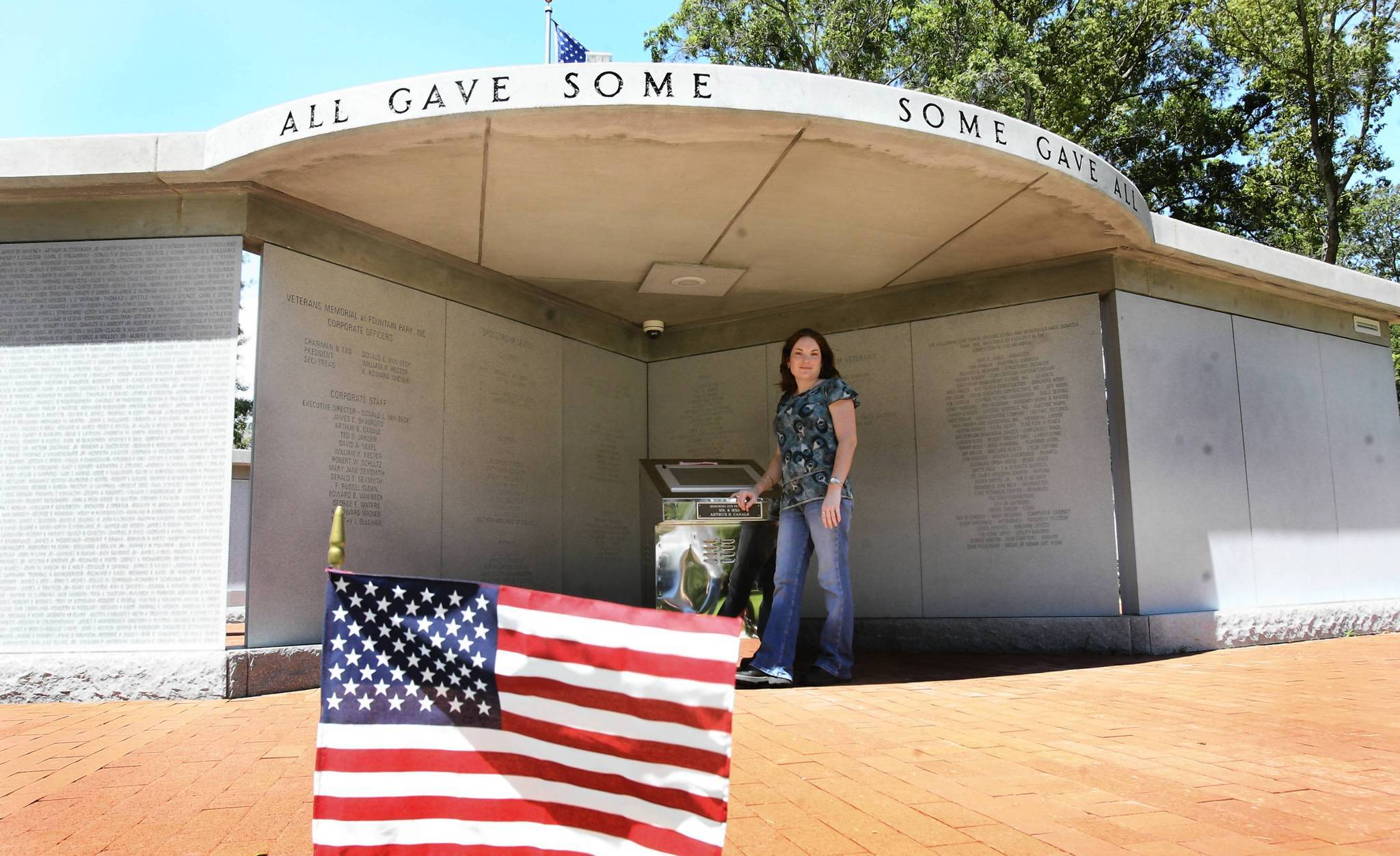 """I cant believe people are already defacing it,"" Jamie Asmus says of the newly opened memorial in Leesburgs Fountain Lake Park. Most of the damage had already been removed Friday."