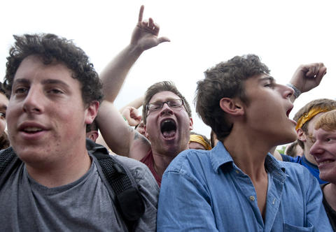 Fans sing along while Cloud Nothings performs at Pitchfork Music Festival at Union Park Saturday July 14, 2012.