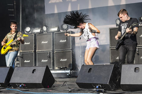 Sleigh Bells performs at the 2012 Pitchfork Music Festival in Union Park on July 14, 2012.
