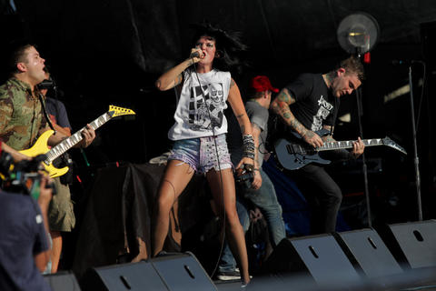 Sleigh Bells performs at Pitchfork Music Festival in Union Park Saturday July 14, 2012.