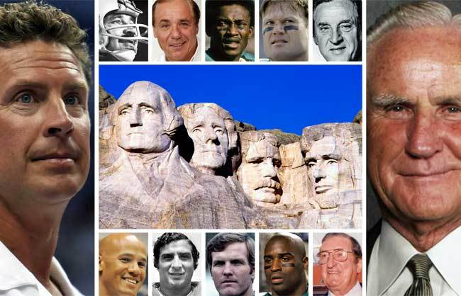 From left: Don Shula, in place of George Washington, Dan Marino, in place of Thomas Jefferson, Larry Csonka, in place of Theodore Roosevelt and Joe Robbie, in place of Abraham Lincoln. (Joseph Schwerdt/Sun Sentinel illustration)