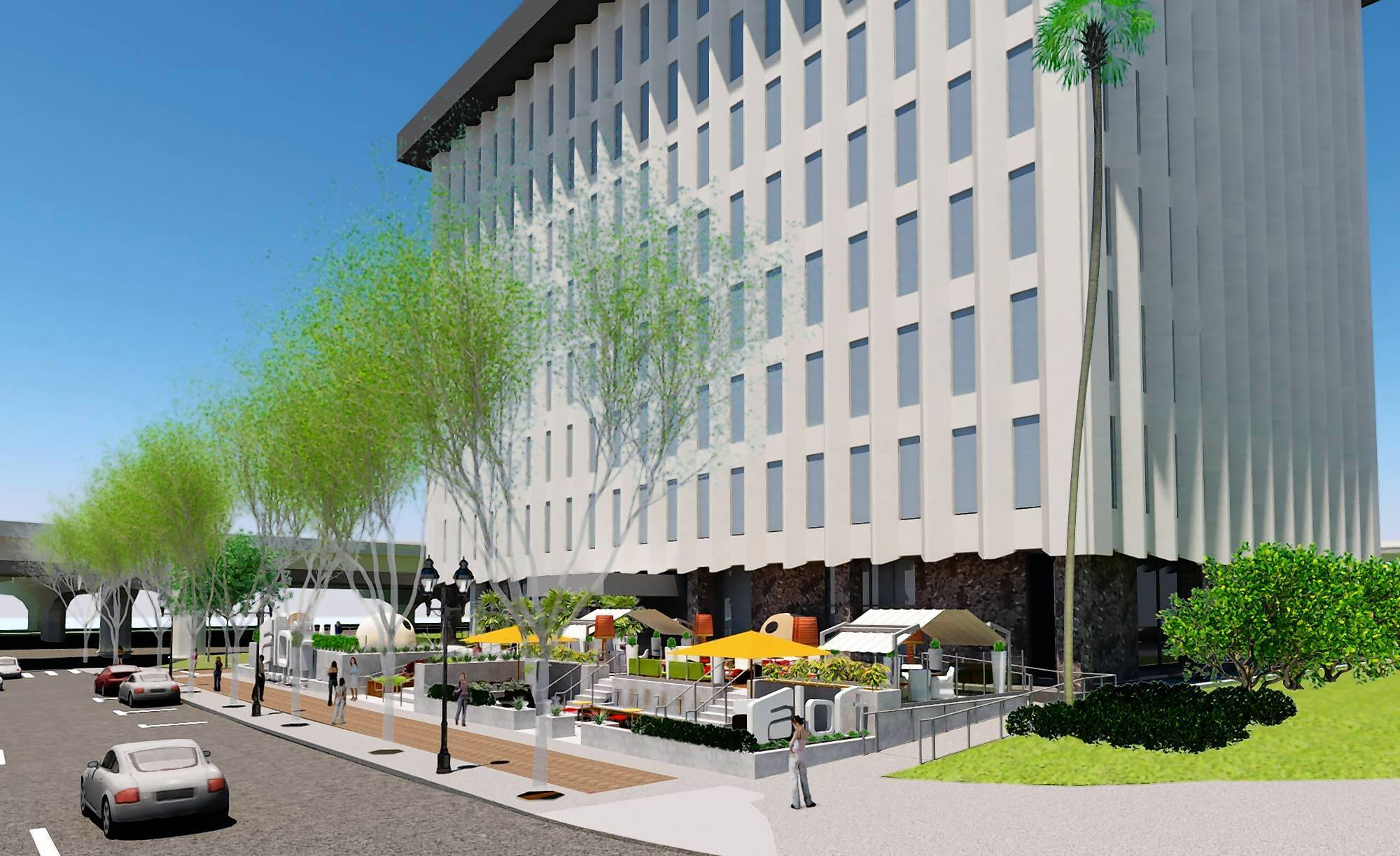 A rendering of the 118-room Aloft Orlando Downtown, a hotel that is being built in the former Orlando Utilities Commission building.