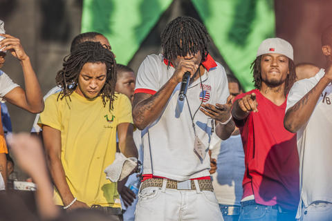 Chief Keef performs during the AraabMuzik set during the Pitchfork Music Festival in Union Park on Sunday, July 15, 2012.