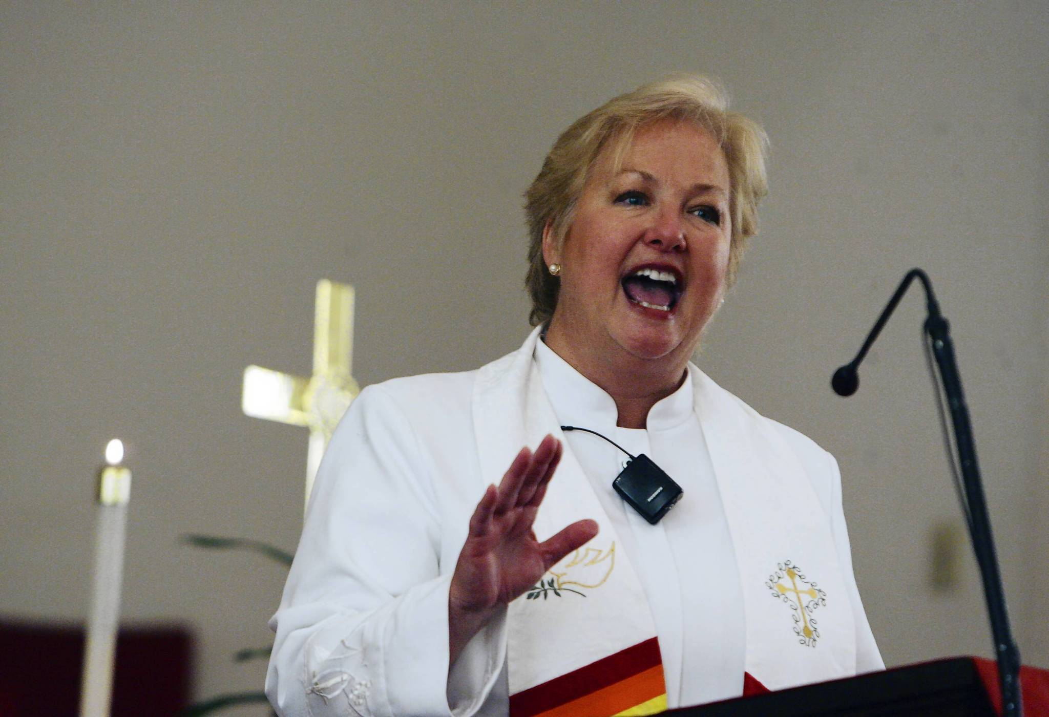 Rev. Clare Chance leads service at Broadway United Methodist Church.