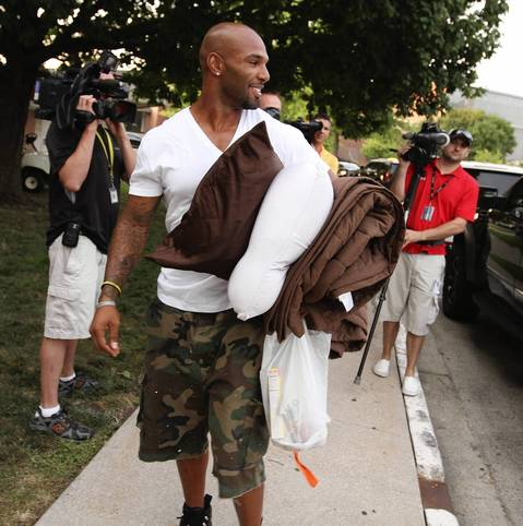 Matt Forte arrives in the early evening as the Chicago Bears report to training camp at Olivet Nazarene University in Bourbonnais.