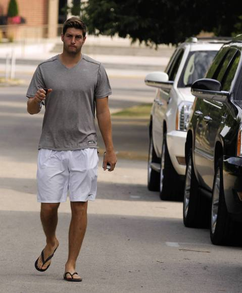Jay Cutler arrives as the Chicago Bears report to training camp at Olivet Nazarene University in Bourbonnais.