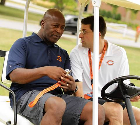 Head coach Lovie Smith in camp is present as Chicago Bears report to training camp at Olivet Nazarene University in Bourbonnais.