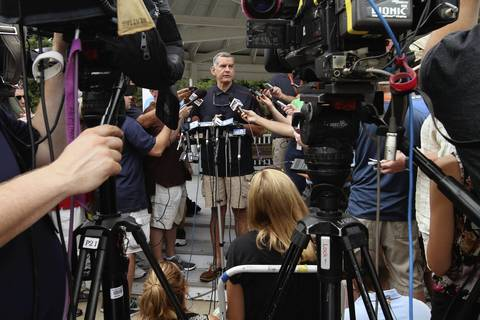 Chicago Bears General Manager Phil Emery speaks to the media as the Chicago Bears report to training camp at Olivet Nazarene University in Bourbonnais.
