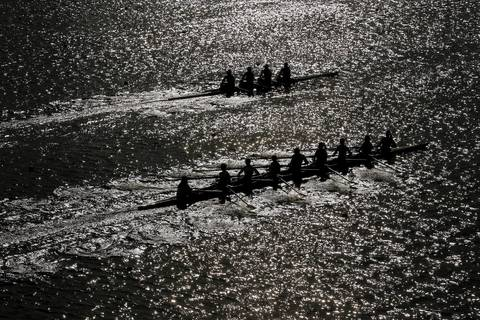 Rowing practice takes place on Day 3 of the London 2012 Olympic Games at Eton Dorney in Windsor, England.