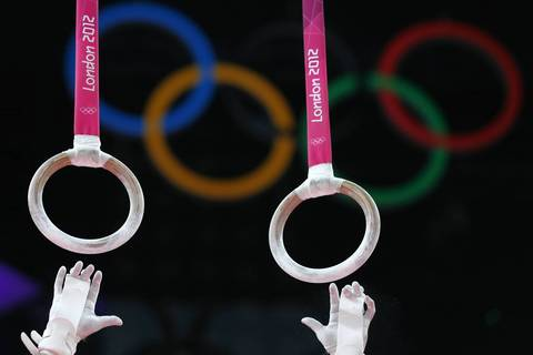 U.S. gymnast Jonathan Horton competes on the rings during the men's team final of the artistic gymnastics event of the London Olympic Games.