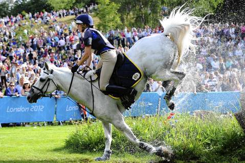 Vittoria Panizzon of Italy stumbles on Borough Pennyz in the Individual Eventing Cross Country Equestrian on Day 3 of the London 2012 Olympic Games at Greenwich Park.