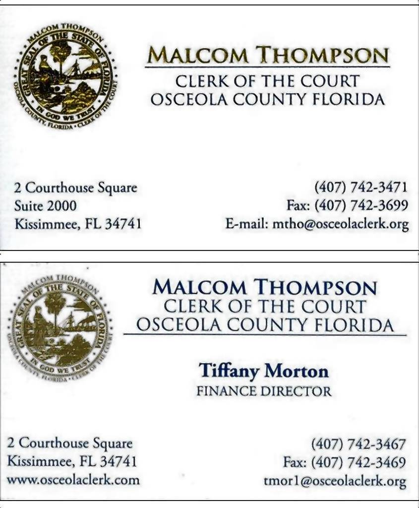 Malcom thompson business cards cash strapped osceola clerk of court cash strapped osceola clerk splurges on gold embossed business cards colourmoves