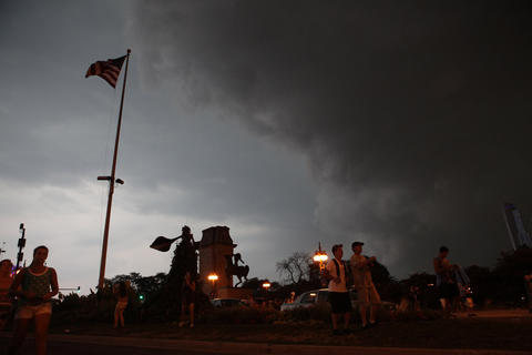 Concert-goers were evacuated from Lollapalooza due to storms moving into the area. Saturday, August 4, 2012 in Chicago, Illinois.