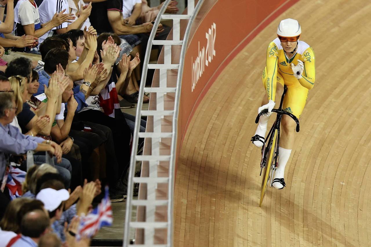 Anna Meares of Australia competes in the Women's Sprint Track Cycling Qualifying on Day 9 of the London 2012 Olympic Games at the Velodrome.