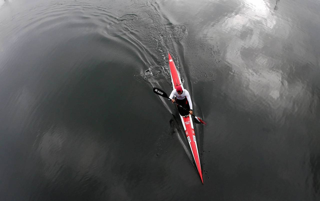 Mostafa Mansour, of Egypt, trains for canoe sprint in preparation for the London 2012 Olympic Games at Eton Dorney near London.