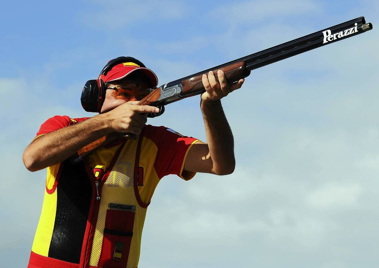 Jesus Serrano of Spain competes in the Men's Trap Shooting on Day 9 of the London 2012 Olympic Game at the Royal Artillery Barracks.