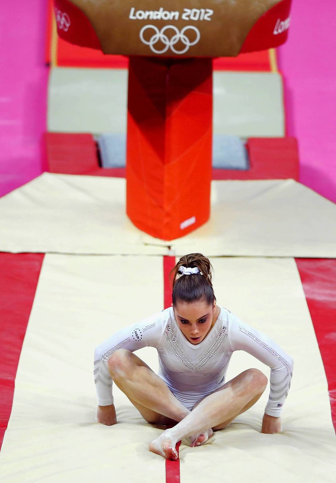 McKayla Maroney of the U.S. reacts after falling from the vault in the women's gymnastics vault final.