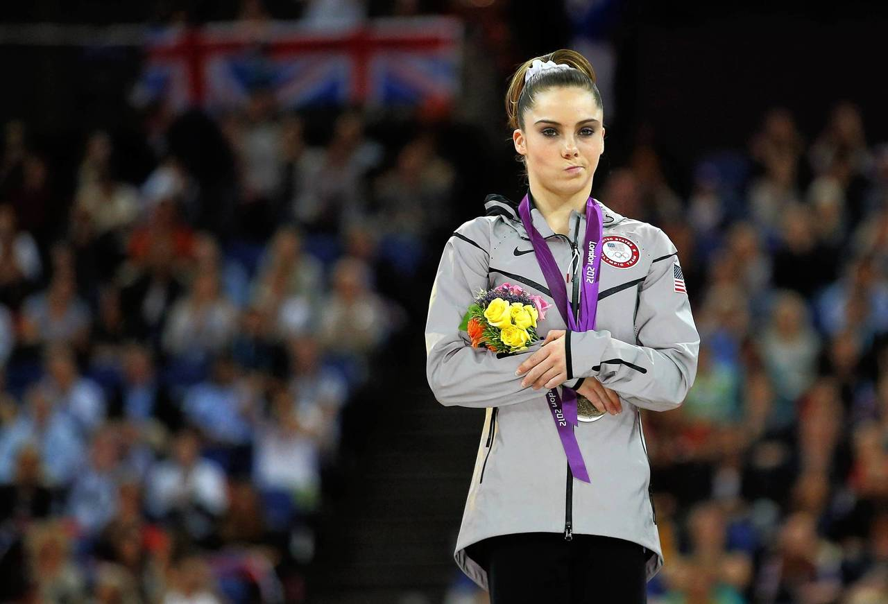 McKayla Maroney with her silver medal in the women's vault victory ceremony.