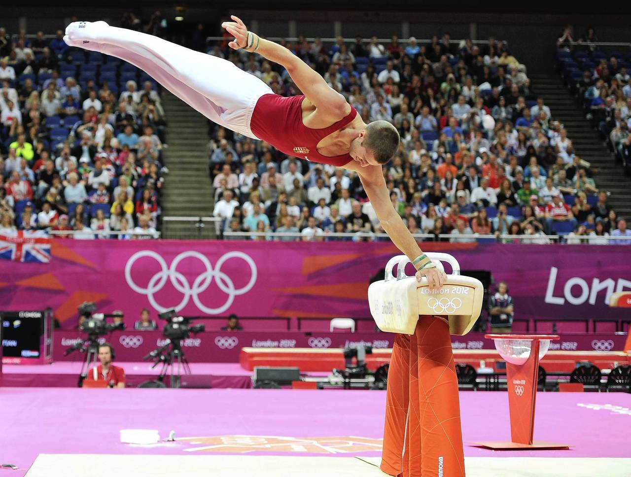 Krisztian Berki of Hungary competes on the horse during the men's pommel horse final.