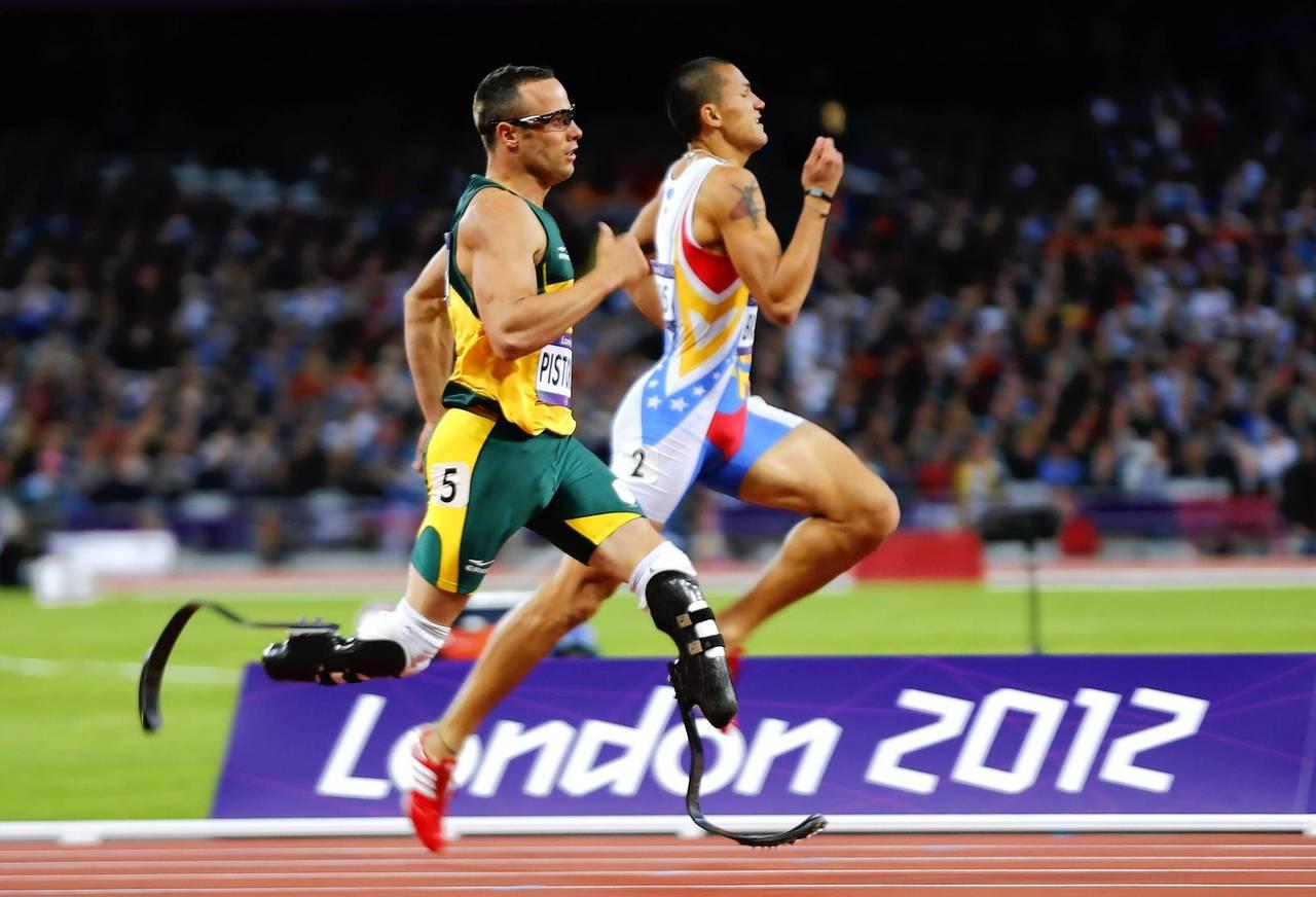 South Africa's Oscar Pistorius runs during his men's 400m semifinal.