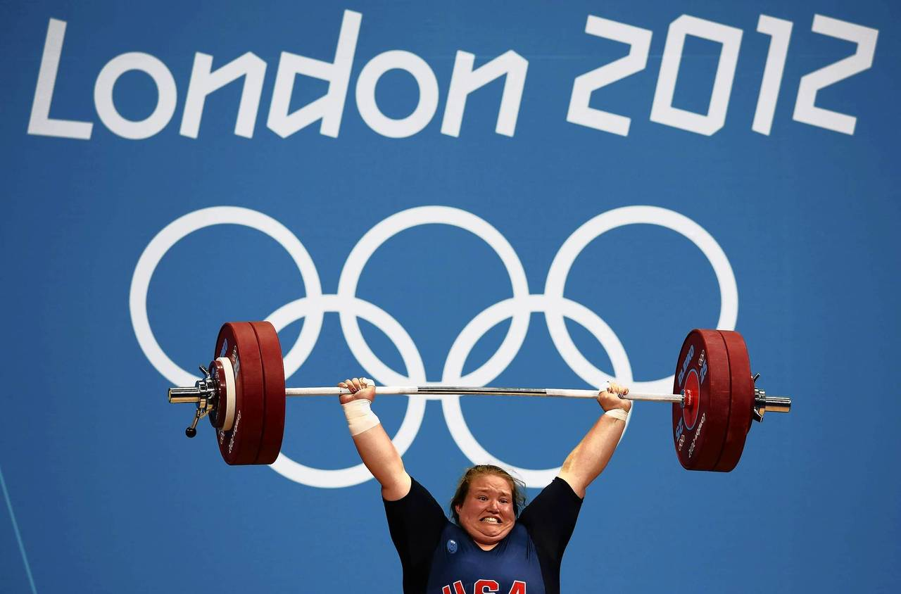 Holly Mangold of the U.S. competes in the women's +75kg group A clean and jerk weightlifting competition.
