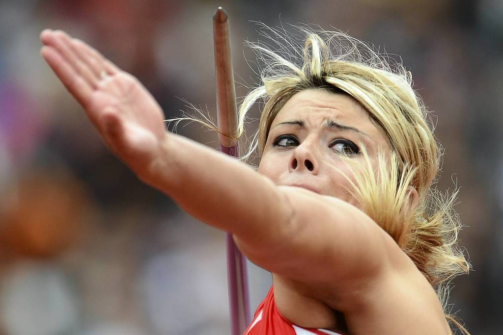 U.S. athlete Brittany Borman competes in one of the Women's Javelin Throw qualifying rounds at the London 2012 Olympic Games