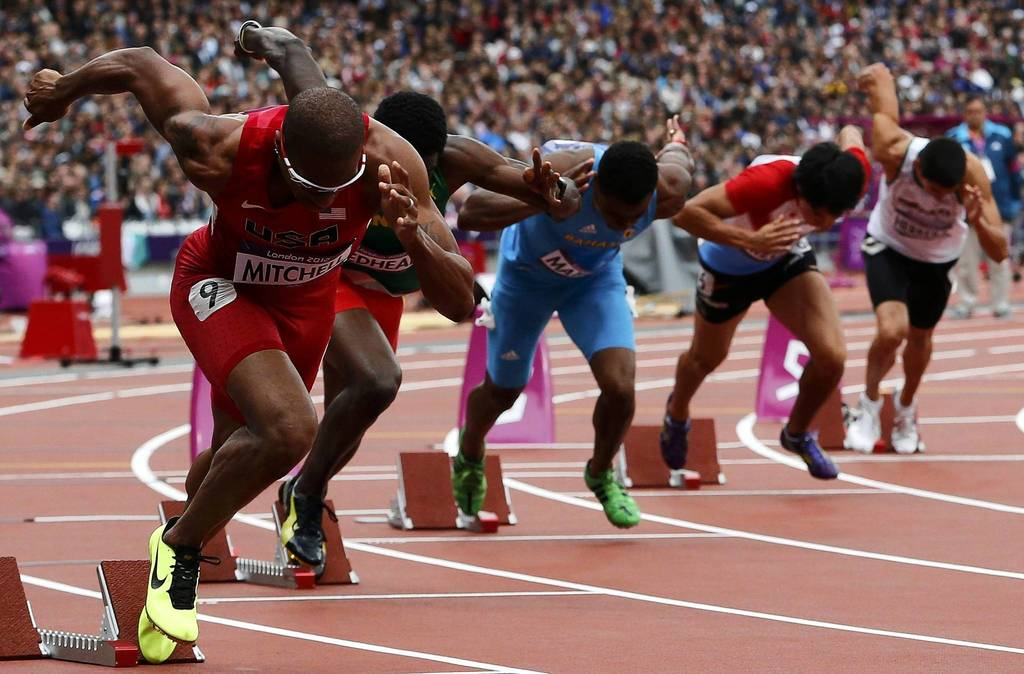 Maurice Mitchell of the U.S. starts his Men's 200m round 1 heat during the London 2012 Olympic Games at the Olympic Stadium.
