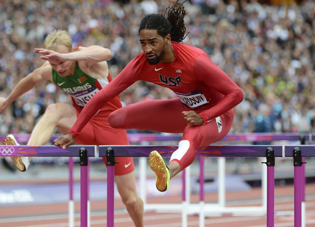 U.S. hurdler Jason Richardson wins his Men's 110m hurdles heat in 13.33 during the London 2012 Olympic Games at Olympic Stadium.