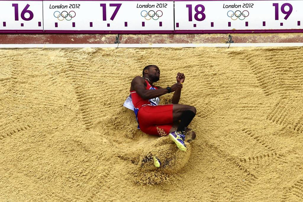 Samyr Laine of Haiti competes in the Men's Triple Jump qualification on Day 11 of the London 2012 Olympic Game.