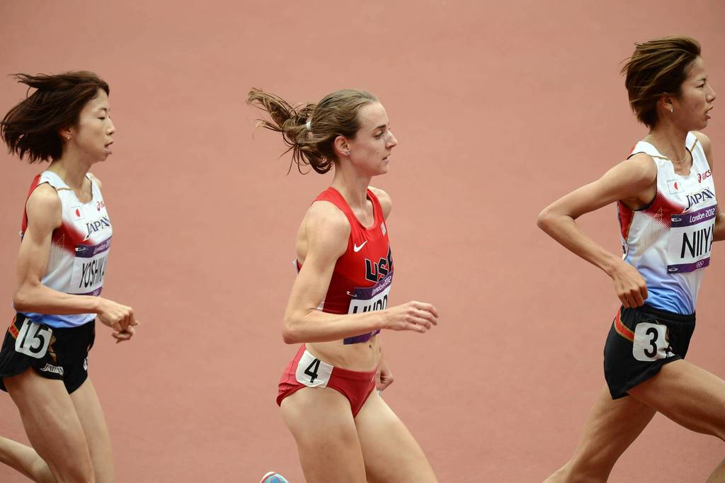 U.S. runner Molly Huddle competes in one of the Women's 5000m heats during the London 2012 Olympic Games at Olympic Stadium.