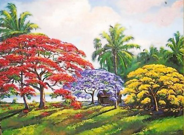 James Gibson, whose artwork includes this colorful Poinciana trees painting, plans to attend the Florida Highwaymen Art Walk.