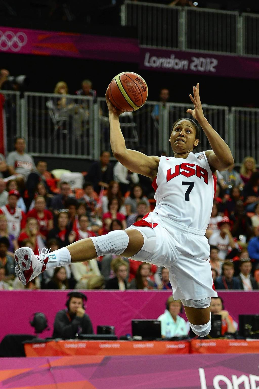 Forward Maya Moore shoots the ball in the second half of a quarterfinal game against Canada; U.S. won Canada 91-48.